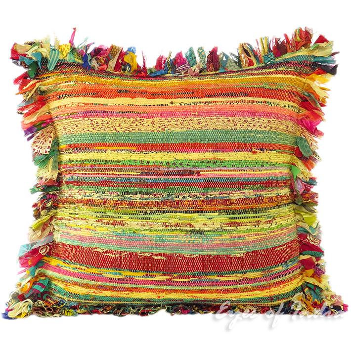 "24"" Large Yellow Chindi Rag Rug Sofa Couch Pillow Cushion"