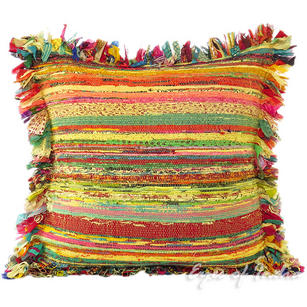 Yellow Chindi Colorful Throw Pillow Couch Sofa Cushion Boho Rag Rug Bohemian Cover - 24""