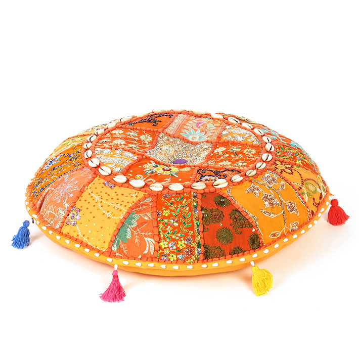Orange Round Decorative Seating Floor Cushion Bohemian Meditation Pillow Cover with Shells - 28""