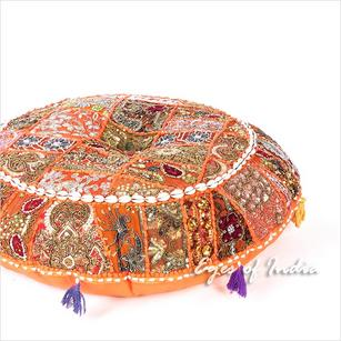 Orange Round Decorative Seating Boho Floor Cushion Bohemian Meditation Pillow Cover with Shells - 28""