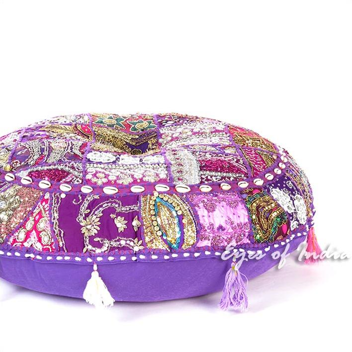 "Purple Round Decorative Seating Boho Bohemian Floor Meditation Cushion Pillow Cover with Shells - 28"""