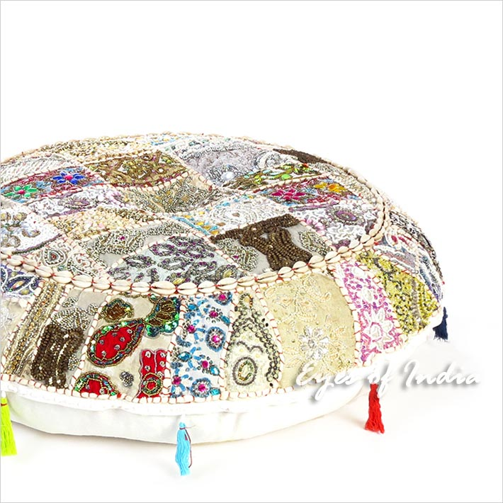 White Boho Bohemian Patchwork Round Floor Seating Meditation Pillow Cushion Cover with Shells - 28""