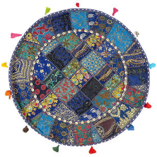 Blue Boho Round Decorative Seating Colorful Floor Meditation Cushion Pillow Cover with Shells - 32""
