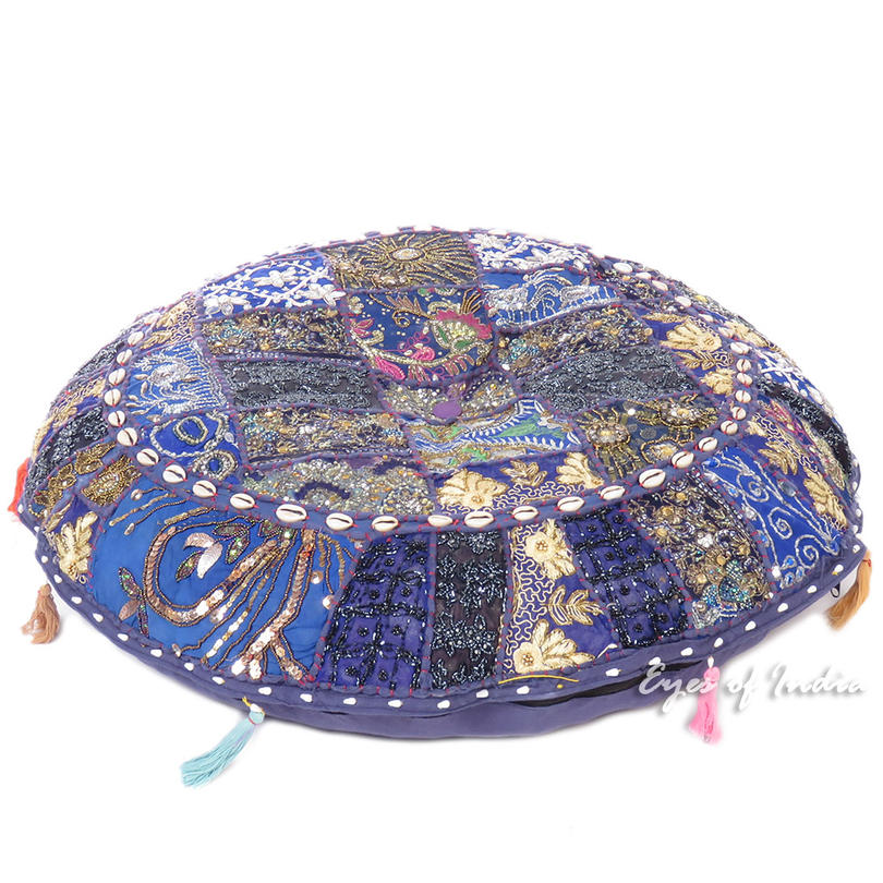 """Blue Round Boho Decorative Seating Colorful Floor Meditation Cushion Pillow Cover with Shells - 40"""""""