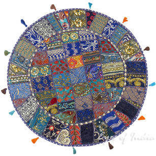 Blue Round Boho Decorative Seating Colorful Floor Meditation Cushion Pillow Cover with Shells - 40""