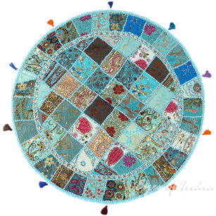 Light Blue Patchwork Round Floor Seating Meditation Pillow Bohemian Cushion Cover with Shells - 40""