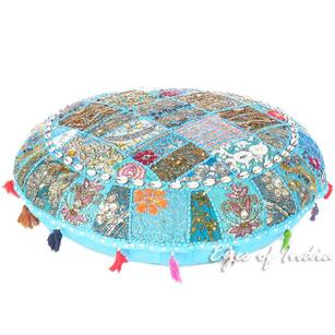 Light Blue Patchwork Round Colorful Floor Seating Meditation Pillow Cushion Cover with Shells - 40""