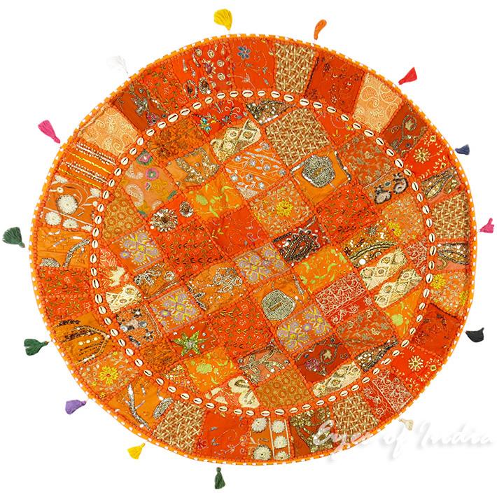 "Orange Round Bohemian Decorative Seating Boho Floor Cushion Meditation Pillow Cover with Shells - 40"""