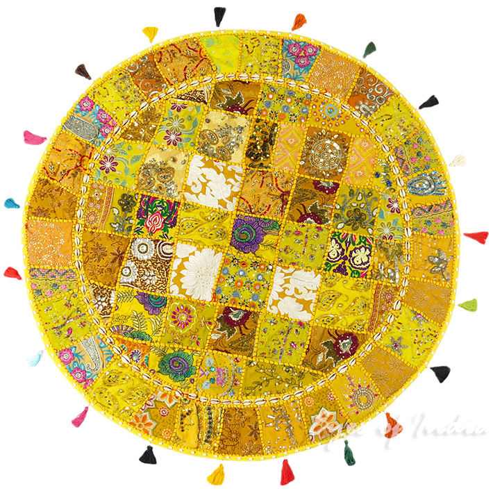 Yellow Round Seating Boho Colorful Floor Meditation Cushion Pillow Throw Cover with Shells - 40""