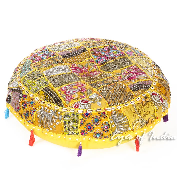 """Yellow Round Seating Boho Colorful Floor Meditation Cushion Pillow Throw Cover with Shells - 40"""""""