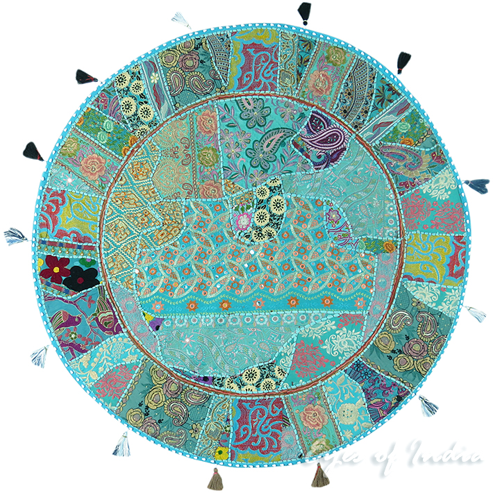 Light Blue Patchwork Round Decorative Seating Colorful Floor Meditation Cushion Pillow Cover - 40""