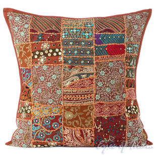 Brown Colorful Decorative Boho Bohemian Throw Pillow Couch Sofa Cushion Cover - 24""