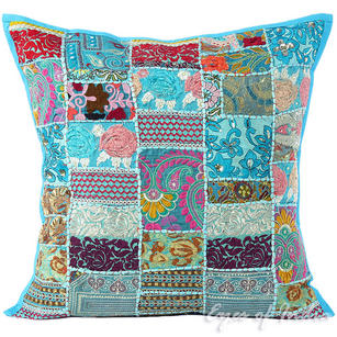 Light Blue Patchwork Bohemian Colorful Throw Pillow Boho Couch Sofa Cushion Cover - 24""