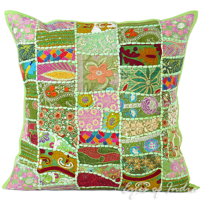 Light Green Patchwork Colorful Decorative Boho Sofa Throw Pillow Couch Cushion Cover - 24""