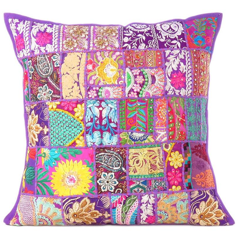 Purple Colorful Decorative Bohemian Boho Pillow Couch Sofa Cushion Throw Cover - 24""