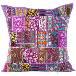 Purple Decorative Bohemian Boho Pillow Couch Sofa Cushion Throw Cover - 24""
