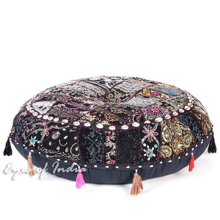 Black Round Boho Decorative Seating Floor Cushion Bohemian Meditation Pillow Cover with Shells - 28""
