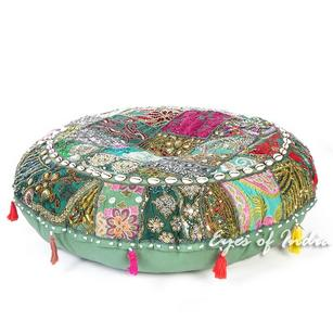 Green Round Decorative Seating Bohemian Boho Floor Meditation Cushion Pillow Cover with Shells - 28""