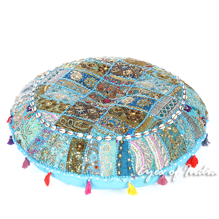 Light Blue Round Decorative Seating Bohemian Floor Cushion Meditation Pillow Cover with Shells - 28""
