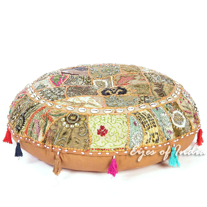 Light Brown Bohemian Patchwork Round Floor Seating Meditation Pillow Cushion Cover with Shells - 28""