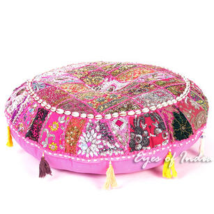 Pink Round Decorative Seating Bohemian Floor Cushion Meditation Pillow Throw Cover with Shells - 28""