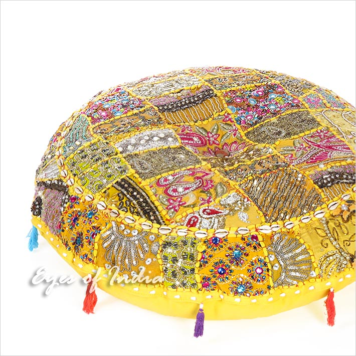 Yellow Round Decorative Seating Floor Meditation Cushion Boho Bohemian Pillow Cover with Shells - 28""