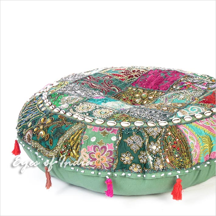 Green Patchwork Bohemian Round Throw Floor Seating Meditation Pillow Cushion Cover with Shells - 32""