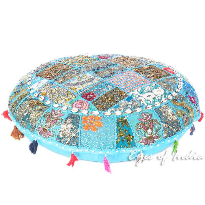 Light Blue Bohemian Round Decorative Seating Floor Meditation Cushion Pillow Cover with Shells - 32""