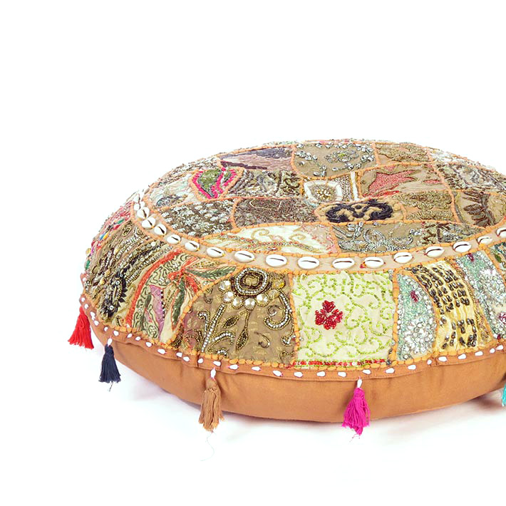 Light Brown Round Seating Boho Colorful Floor Cushion Meditation Pillow Cover with Shells - 32""