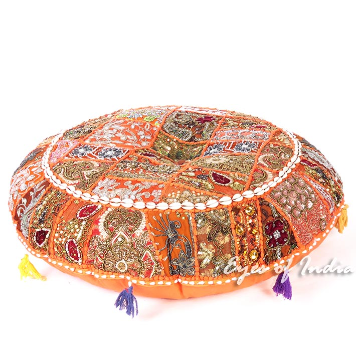 """Orange Boho Patchwork Bohemian Round Floor Seating Meditation Pillow Cushion Cover with Shells - 32"""""""