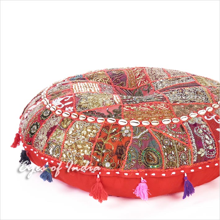 Red Round Boho Decorative Seating Bohemian Floor Cushion Meditation Pillow Cover with Shells - 32""