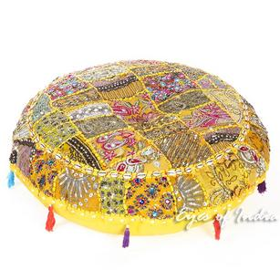 Yellow Patchwork Bohemian Round Floor Seating Meditation Pillow Boho Cushion Cover with Shells - 32""