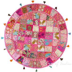 Pink Patchwork Bohemian Boho Round Floor Seating Meditation Pillow Cushion Cover with Shells - 40""