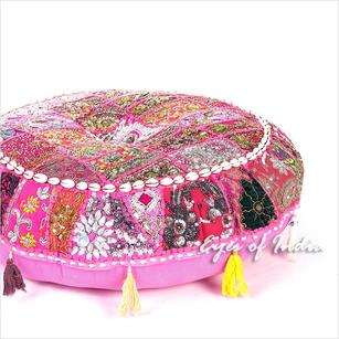 Pink Patchwork Boho Round Colorful Floor Seating Meditation Pillow Cushion Cover with Shells - 40""