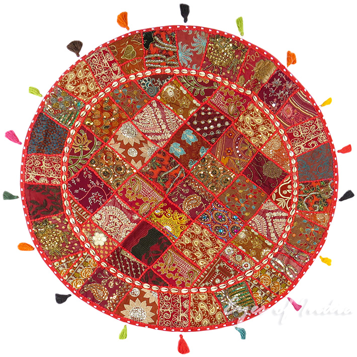 Red Round Boho Decorative Seating Colorful Floor Cushion Meditation Pillow Cover with Shells - 40""