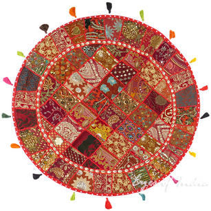 Red Round Boho Bohemian Decorative Seating Floor Cushion Meditation Pillow Cover with Shells - 40""
