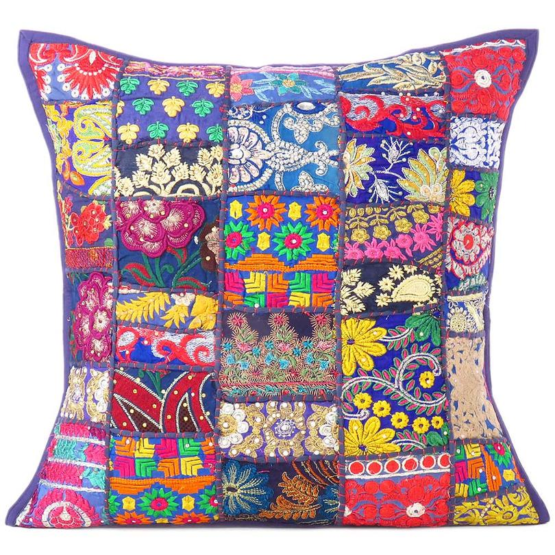 """Blue Patchwork Colorful Decorative Bohemian Boho Sofa Throw Pillow Couch Cushion Cover - 20"""""""