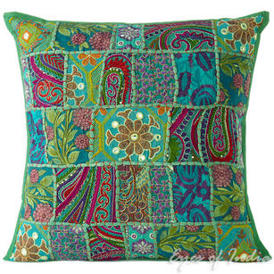 Green Patchwork Decorative Bohemian Boho Pillow Couch Cushion Throw Cover - 20""
