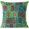 "Green Patchwork Colorful Decorative Bohemian Boho Pillow Couch Cushion Sofa Throw Cover - 20"" 1"