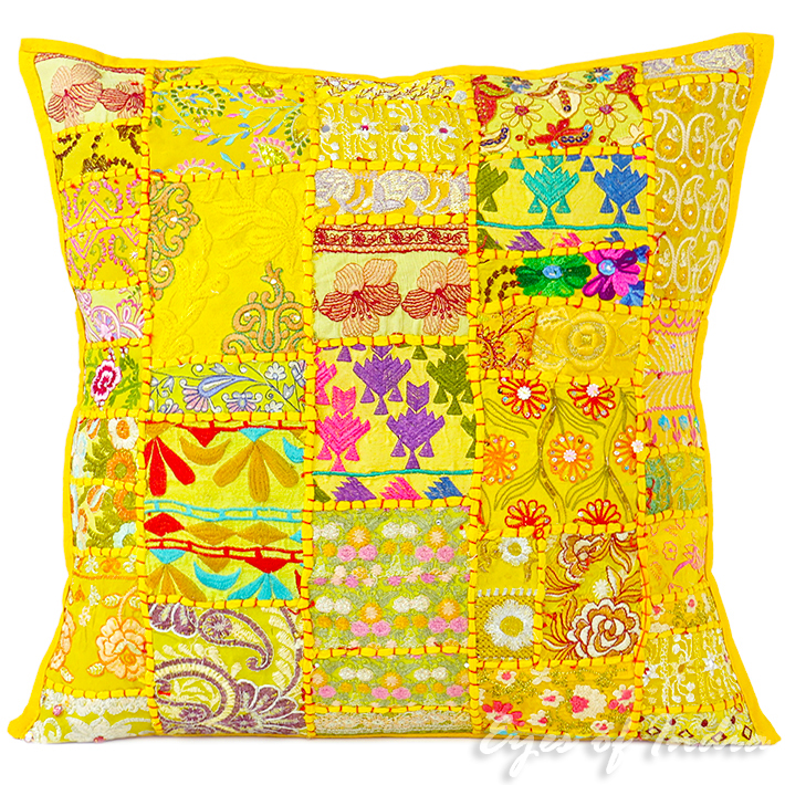 Yellow Patchwork Colorful Decorative Boho Bohemian Pillow Couch Cushion Sofa Throw Cover - 20""