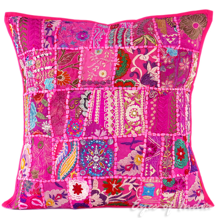 Pink Patchwork Boho Colorful Throw Pillow Bohemian Couch Sofa Cushion Cover - 20""