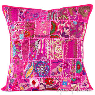 Pink Patchwork Boho Throw Pillow Bohemian Couch Sofa Cushion Cover - 20""