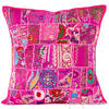 "Pink Patchwork Boho Colorful Throw Pillow Bohemian Couch Sofa Cushion Cover - 20"" 1"