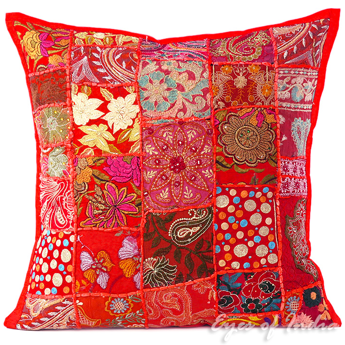 Red Patchwork Embroidered Colorful Decorative Boho Sofa Throw Pillow Couch Cushion Cover - 20""