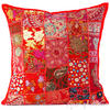 "Red Patchwork Embroidered Colorful Decorative Boho Sofa Throw Pillow Couch Cushion Cover - 20"" 1"