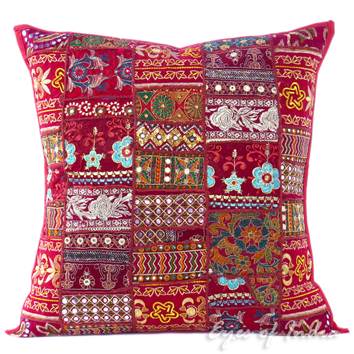 Burgundy Red Patchwork Bohemian Colorful Throw Pillow Boho Couch Sofa Cushion Cover - 24""