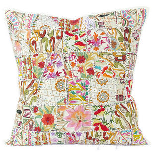 White Patchwork Colorful Decorative Boho Bohemian Pillow Couch Cushion Sofa Throw Cover - 24""