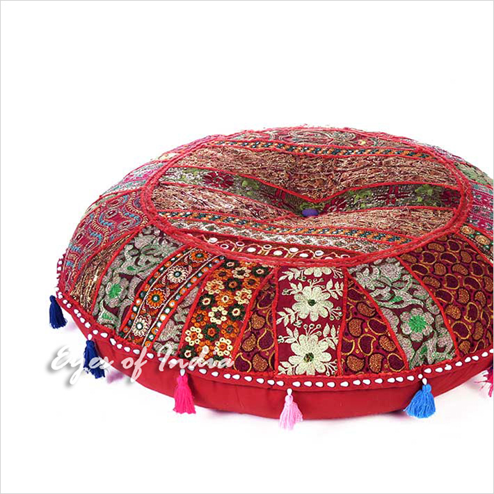 Burgundy Red Bohemian Round Decorative Seating Floor Pillow Boho Meditation Cushion Throw Cover - 28""