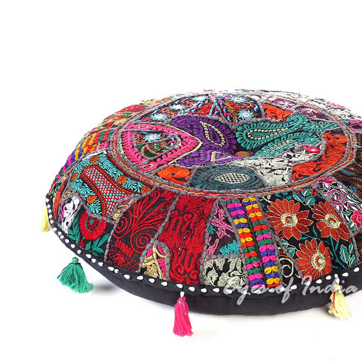 Black Boho Patchwork Bohemian Round Throw Colorful Floor Seating Meditation Pillow Cushion Cover - 32""