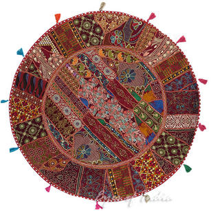 Burgundy Red Boho Bohemian Patchwork Round Floor Seating Pillow Meditation Cushion Cover - 40""